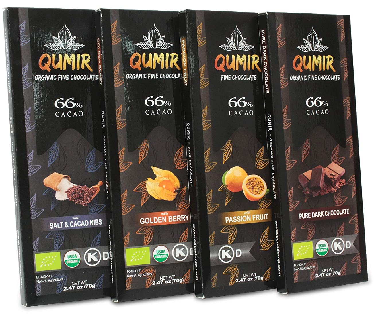 Qumir Dark Chocolate | 4 Pack, Plain, Passion Fruit, Salt and Nibs, Golden Berry | made with amazon arriba cacao beans | Pack of 4 Bars, 2.47oz each.