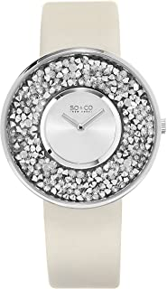 So & Co New York SoHo Women's Silver Dial Leather Band Watch - 5223.1