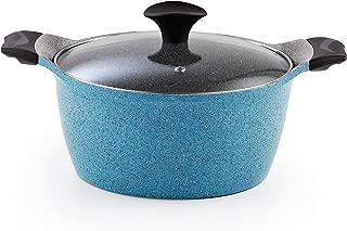 Cook N Home 4.2-Quart Nonstick Ceramic Sauce Pot High Casserole Pan with Lid, Blue