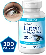 Lutein and Zeaxanthin 20 mg | 300 Softgels | Value Size | Supports Eye Health | Non-GMO, Gluten Free Supplement | by Carlyle