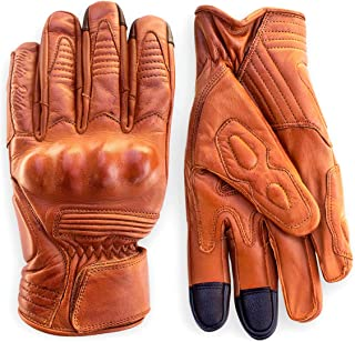 Premium Leather Motorcycle Gloves (Camel) Cool, Comfortable Riding Protection, Cafe Racer, Half Gauntlet with Mobile Touchscreen (X-Large)
