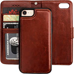 Bocasal iPhone 8 Plus iPhone 7 Plus Wallet Case with Card Holder PU Leather Magnetic Detachable Kickstand Shockproof Wrist Strap Removable Flip Cover for iPhone 7/8 Plus 5.5 inch (Brown)