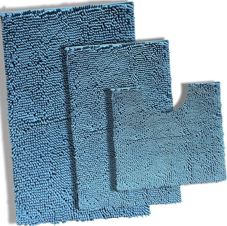 Teal Bathroom Rugs Bargain sale Mat Set Chenille Nashville-Davidson Mall Sets Rug