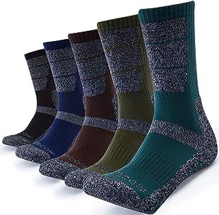 KEECOW Mens Socks 5 Pairs Cushioned Moisture Control Crew Hiking Trekking Walking Athletic Socks