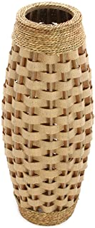 """Hosley's 24"""" High Wood and Grass Floor Vase. Ideal Gift for Weddings, Home Decor, Long dried Floral, Spa, Aromatherapy, Umbrella / Cane Stand O6"""