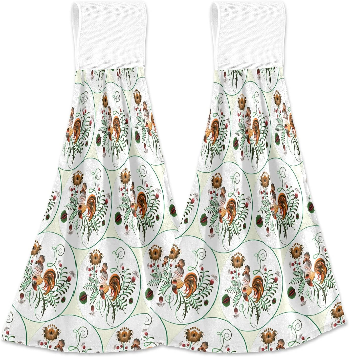 KLL Colorful Rooster with Floral Hanging Absorbent Ki 67% OFF of fixed price Towel Max 44% OFF 2PCS