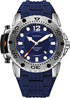 Men's Watches OGEDA Analog Quartz Watches Water-Resistant Silicone Strap Sports Military Wrist Watch Best Gift for Men