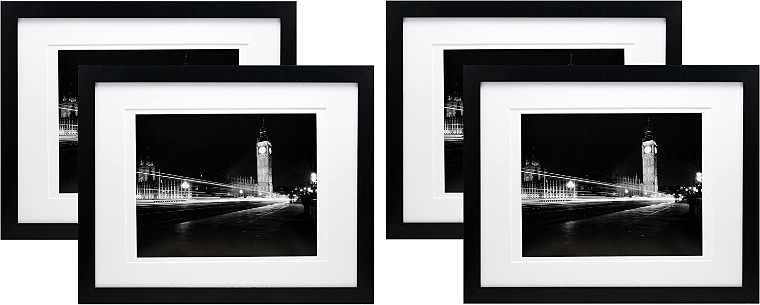 11x14 Black Gallery Picture Frame with 8x10and 8.5x11 Mats - 4 Pack - Wide Molding - Includes Both Attached Hanging Hardware and Desktop Easel - Frames Display Pictures Documents Certificates Mat