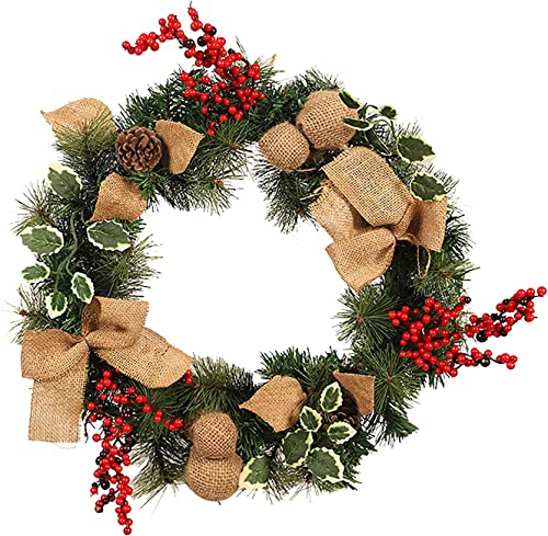 new arrival Christmas outlet sale Wreath: Linen Needles Wreath with Red Berry Christmas discount Ornament Door Hanging Garland sale