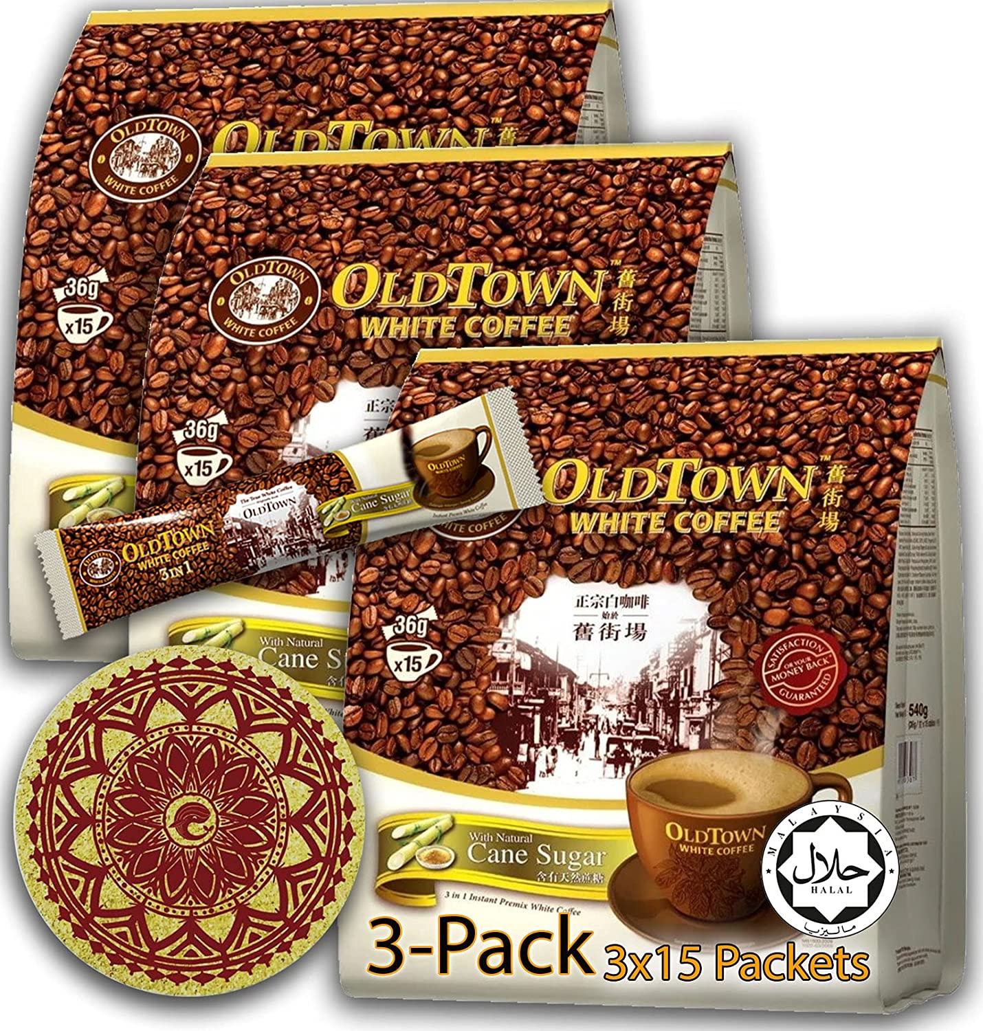 3 Pack - Cane Sugar OLD Ranking TOP8 TOWN Cof in Coffee 1 Year-end annual account Asian Instant