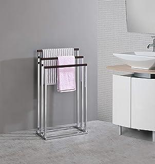 Kings Brand Furniture - Chrome Metal/Walnut Wood Freestanding Towel Rack Stand