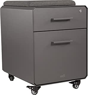 VARIDESK - Storage Seat - Rolling Locking Storage File Cabinet with Seat Top