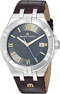 9860eaf40cd Maurice Lacroix Men s Aikon Stainless Steel Swiss-Quartz Watch with Leather  Strap