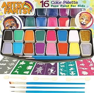 Artsy Fartsy Face Paint Kit for Kids | Professional 16 Color Mega Palette | Best Body Face Painting Kits | 3 Brushes, 3 Applicators, Glitter, 50 Stencils, Durable Case | FDA Compliant Non Toxic