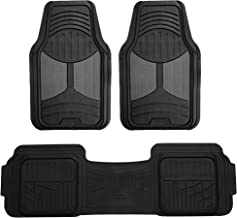 FH Group F11513 Car Floor Mats (3 pcs) Heavy Duty Rubber Floor Mats All-Weather Full Set Mats w, Universally Designed to fit All Trucks, Cars, SUVs, and Other Automobiles-Gray/Black