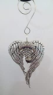 Mom Angel Wings Memorial Ornament In Memory Gift w/Rhinestone Heart & Purple Crystal