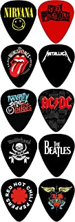 Rocking Bands Standard Guitar Picks with 10 Legendary Bands(071mm)