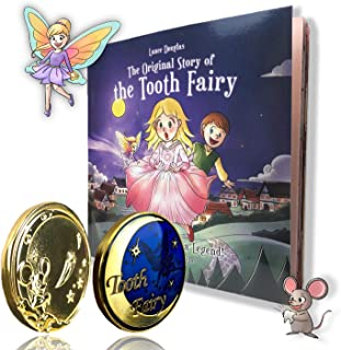 Tooth Fairy Gift Set Keepsake Gold Coin and Tooth Fairy Book for Girls