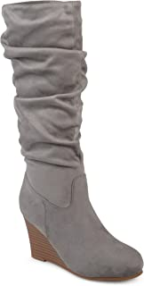 Womens Regular and Wide Calf Slouchy Mid-Calf Wedge Boots