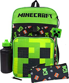 Minecraft Creeper & TNT 5 Piece Backpack Set, Black, Size One Size