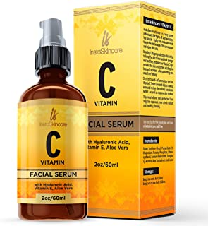 Vitamin C Serum for Face (2oz) with Hyaluronic Acid and Vitamin E Natural Skin Care Facial Treatment Neck & Chest Anti-Aging Serum Fights Pigmentation Fine Lines and Wrinkles Protects from Sun Damage