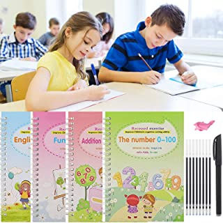 4Pcs Calligraphy Copybook, Books Reusable Copybook with Magical Pen, Magic Writing Paste Children's Kindergarten Grooves P...