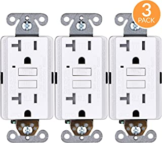 Faith Electric 20A GFCI Outlets Slim, Non-Tamper-Resistant GFI Duplex Receptacles with LED Indicator, Self-Test Ground Fault Circuit Interrupter, ETL Listed, 3-Pack, White, 3 Piece