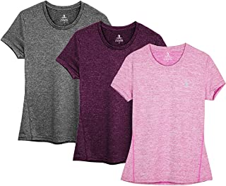 Workout Running Tshirts for Women - Fitness Athletic Yoga Tops Exercise Gym Shirts (Pack of 3)