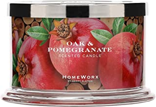 HomeWorx by Harry Slatkin 4 Wick Candle, 18 oz, Oak & Pomegranate - HMXC18-AZ-OP