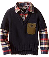 Dsquared2 Kids - 2-in-1 V-Neck Pullover w/ Flannel Shirt (Little Kids/Big Kids)