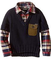 Dsquared2 Kids - 2-in-1 V-Neck Pullover w/ Flannel Shirt (Little Kids/Big Kids)