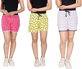 StyleAone Women's Cotton Printed Shorts - Pack of 3