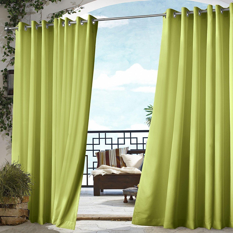 1Pieza 96 al aire libre Gazebo de color sólido verde cortina de poliéster, cabaña, verde fuera ventana tratamiento solo Panel Patio porche, deck puerta de entrada puerta Arandela para pérgola Drapes: Amazon.es: