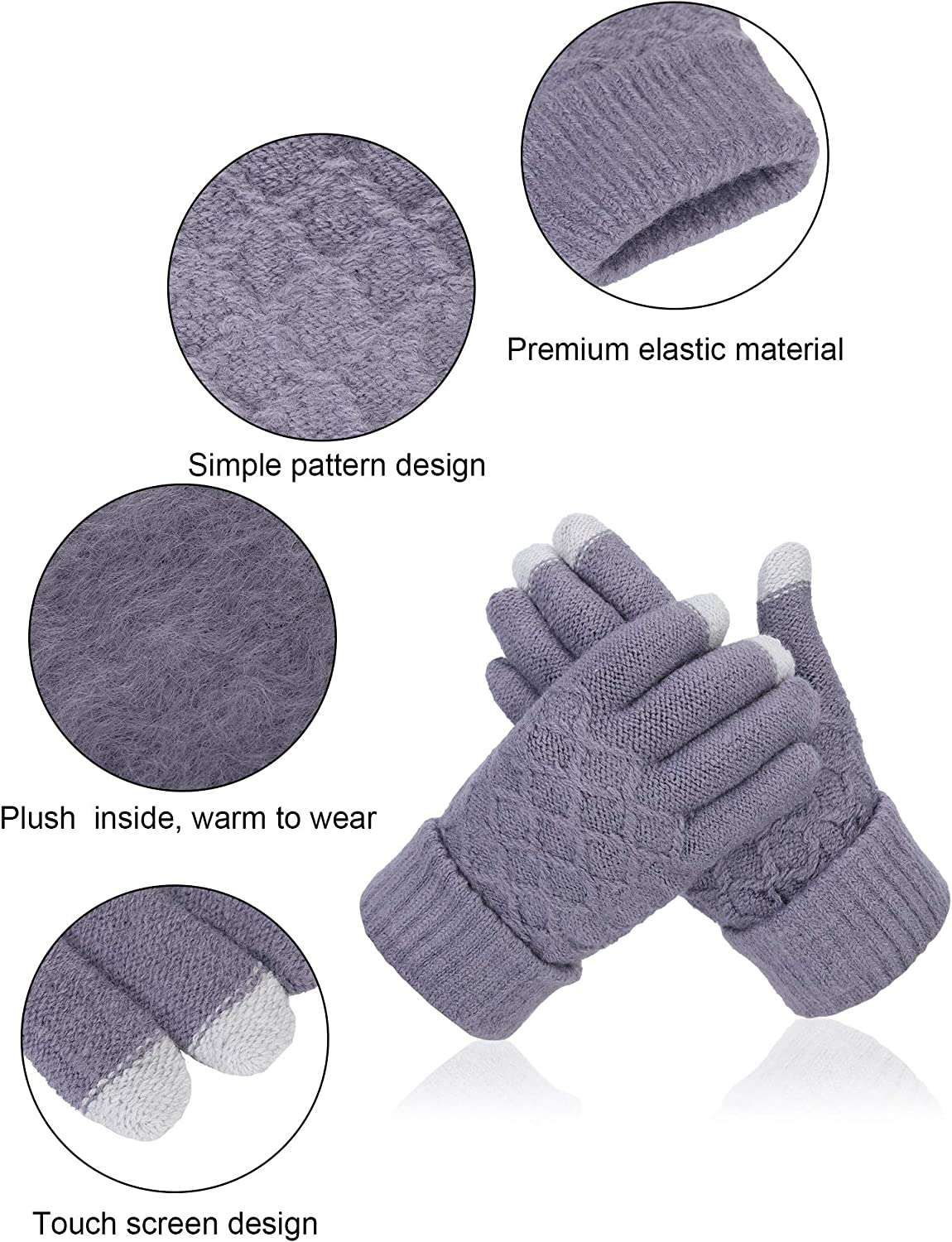 SATINIOR 6 Pairs Winter Knit Touch Screen Gloves Full Finger Mittens with Jacquard Design, Red, Black, Blue, Pink, Gray, White, 19 x 11 cm/ 7.5 x 4.3 inches (LW)