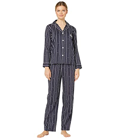 LAUREN Ralph Lauren Logo Stripe Wovens Long Sleeve Pointed Notch Collar Long Pants Pajama Set (Navy Stripe) Women