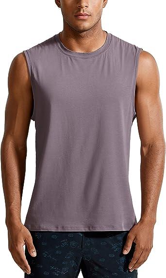 CRZ YOGA Hombre Camisetas sin Mangas de algodón Pima de Camisas sin Mangas Que absorben la Humedad