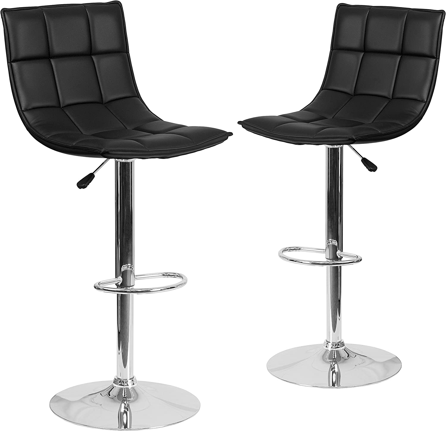 Flash Furniture 2 Pk. Contemporary Black Quilted Vinyl Adjustable Height Barstool with Chrome Base