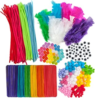 600 Piece Crafts Supplies Mega Pack - Includes Feathers. Craft Buttons, Pom Poms, Colored Popsicle Sticks, Googly Eyes, an...