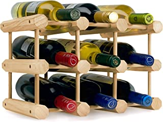 Heincorp Countertop Wine Rack Stackable Wine Storage - Free Standing Table Top, Cabinet or Counter Top Wine Holder - Natural Pine Wooden Wine Rack Holds 9 Bottles
