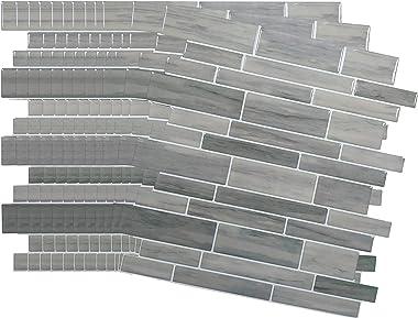 "Crystiles 12""x12"" Vinyl Peel and Stick Backsplash Tile, Taupe Slate, Pro Series Thicker Version, 12-Sheet Pack"