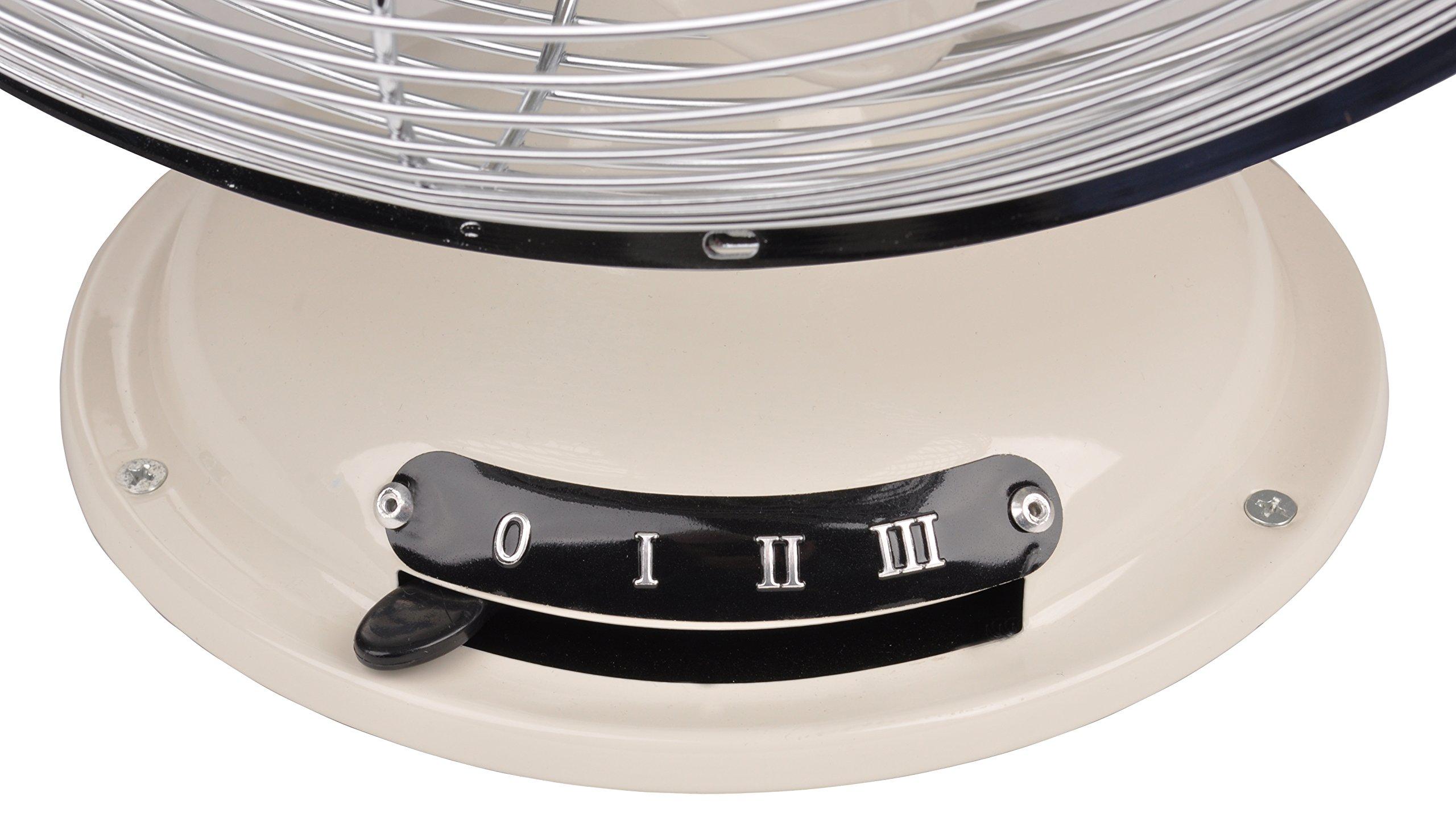 Team Kalorik Ventilador de mesa de metal, Función oscilación, 3 velocidades, 30 cm, 35 W, Blanco/Plateado, TKG VT 1021: Amazon.es: Hogar