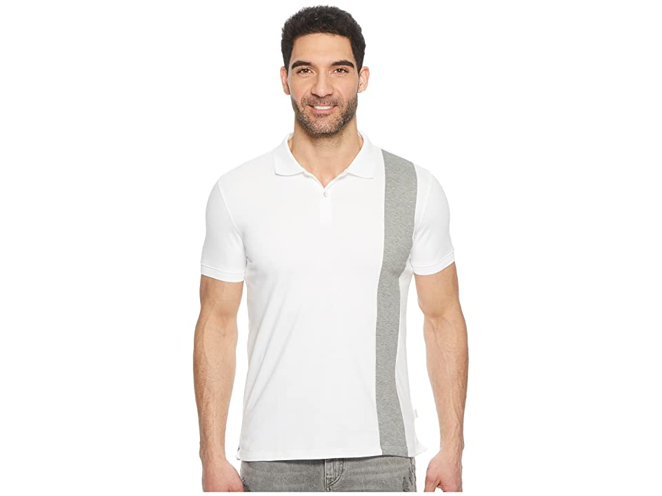 Calvin Klein Color Blocked Stripe Knit Polo (Stand White Combo) Men