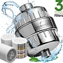 Shower Filter with Vitamin C For Hard Water - 3 Cartridges Included Shower Filters Removes Chlorine Fluoride and Harmful Substances - Showerhead Filter with High Output