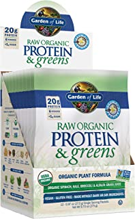 Garden of Life Greens and Protein Powder - Organic Raw Protein and Greens with Probiotics/Enzymes, Vegan, Gluten-Free, Vanilla, 0.97 Ounce (Pack of 10)