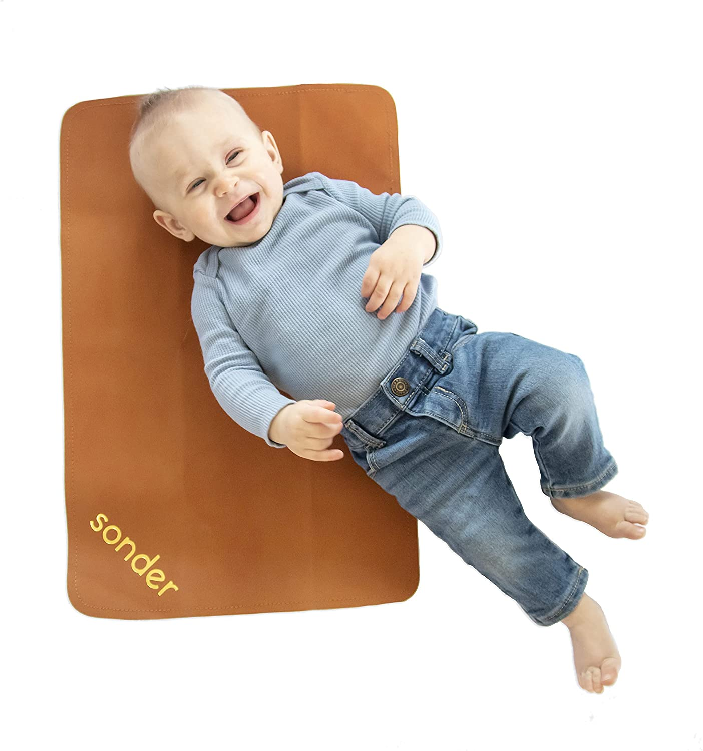 SONDER Double Sided Vegan Leather Changing Mat - Infant and Toddler Multipurpose Portable Waterproof Diaper Pad - Compact for Travel - Deluxe Diaper Changer (Sugar Almond + Raven, 14