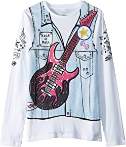 Bella Printed Denim Vest Long Sleeve Tee (Toddler/Little Kids/Big Kids)