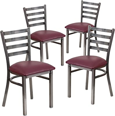 Flash Furniture 4 Pk. HERCULES Series Clear Coated Ladder Back Metal Restaurant Chair - Burgundy Vinyl Seat