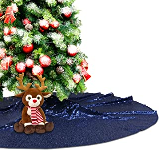 Eternal Beauty Navy Blue Sequin Tree Skirt 50Inch Christmas Tree Skirt Embroidered Sparkly Xmas Tree Ornament Christmas Decoration