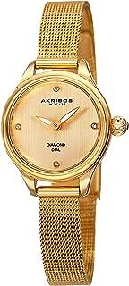 Akribos Xxiv Women's Ak873Yg Round Champagne Dial Two Hand Quartz Bracelet Watch, Gold Band, Analog Display