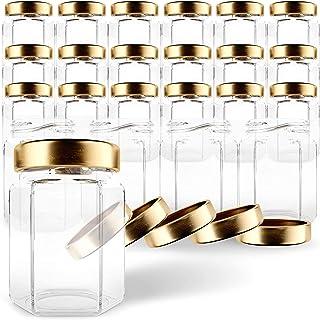 GoJars Hexagon Glass Jars 6oz Premium Food-grade. Mini Jars With Lids For Gifts, Wedding Favors, Honey, Jams And More. (2...